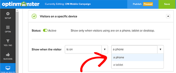 om select phone for mobile visitors