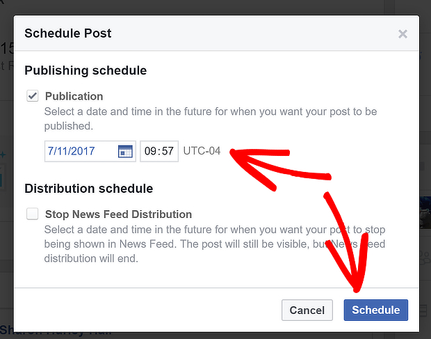 schedule facebook post step 2