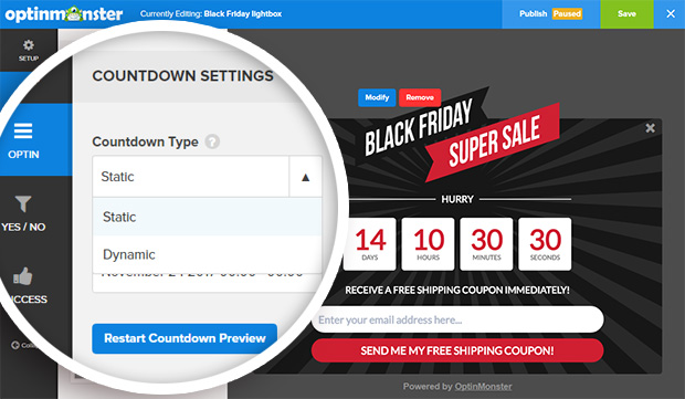 choose static or dynamic evergreen countdown timer