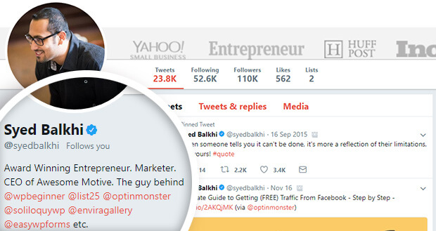 how syedbalkhi generates leads on twitter with bio links to his businesses