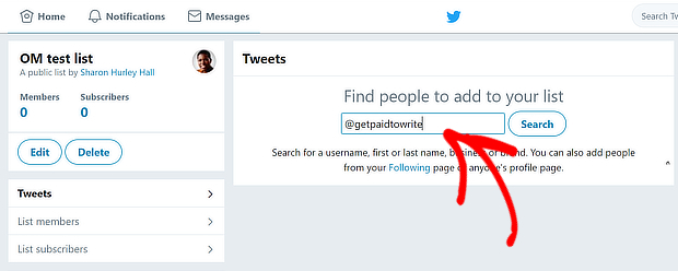 twitter add to list search