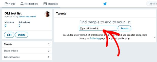 twitter添加到列表搜索