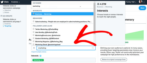 twitter ads select interest areaas