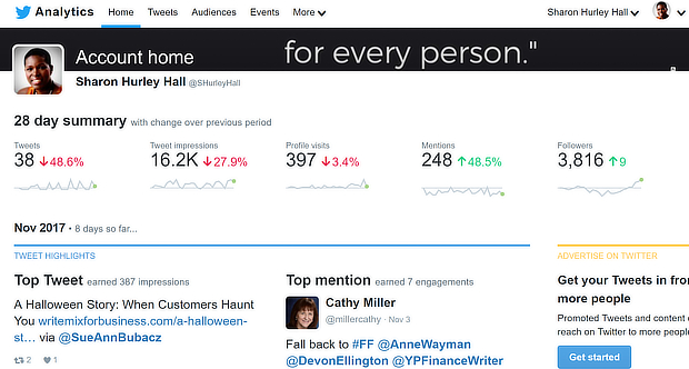 twitter analytics main screen
