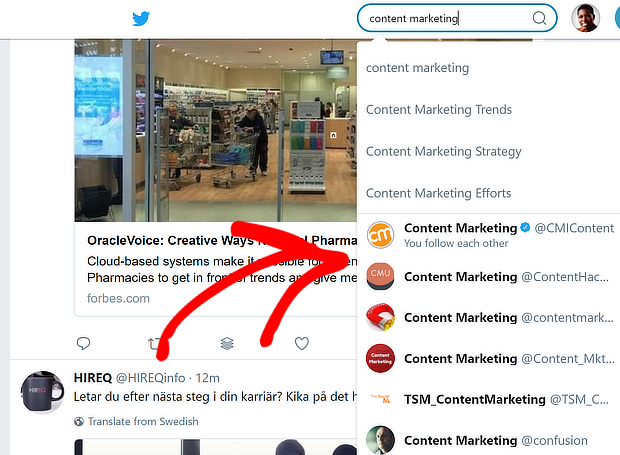 twitter content marketing search