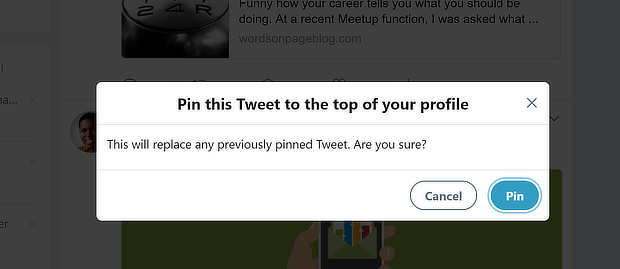 twitter pin confirmation message