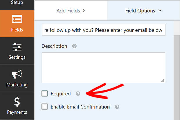 wpf add email required deselected
