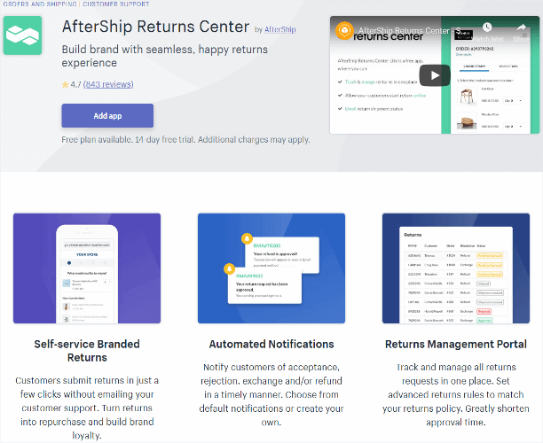aftership returns center app