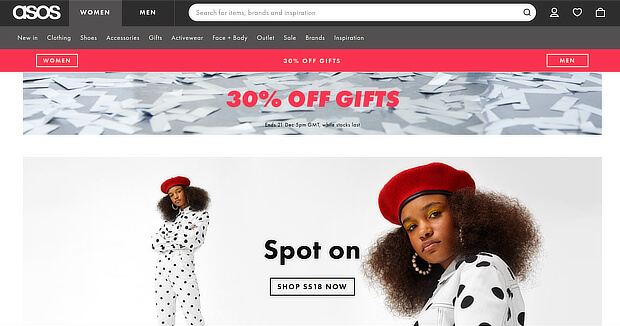 ecommerce personalization examples - asos