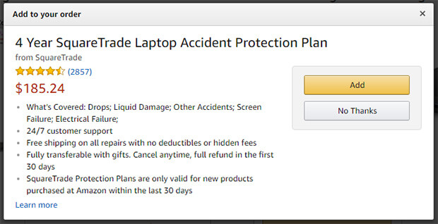 ecommerce upsell example - amazon product protection