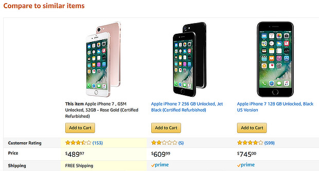 ecommerce upsell examples phone comparison