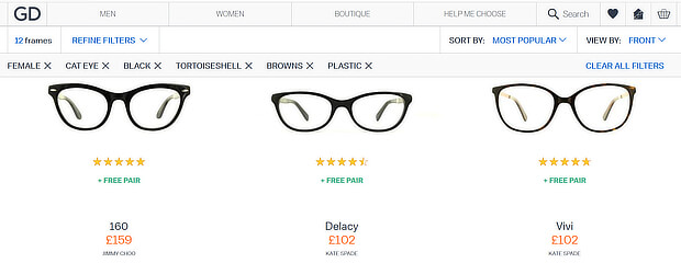 ecommerce personalization examples - glasses direct 2