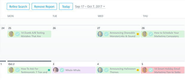 sample asana content calendar