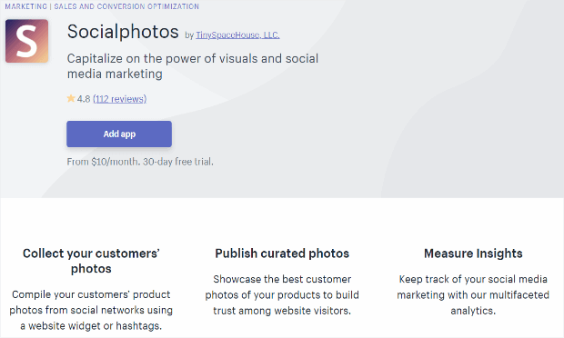 socialphotos shopify app lets you sell products with direct links