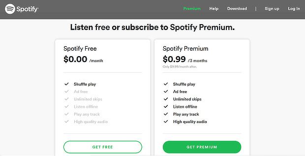 upsell tips- spotify screenshot
