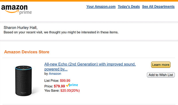 this echo email shows the power of amazon's ecommerce personalization tools