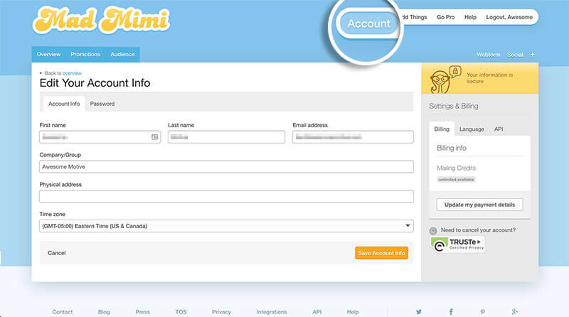 "Click ""Account"" in your MadMimi dashboard"