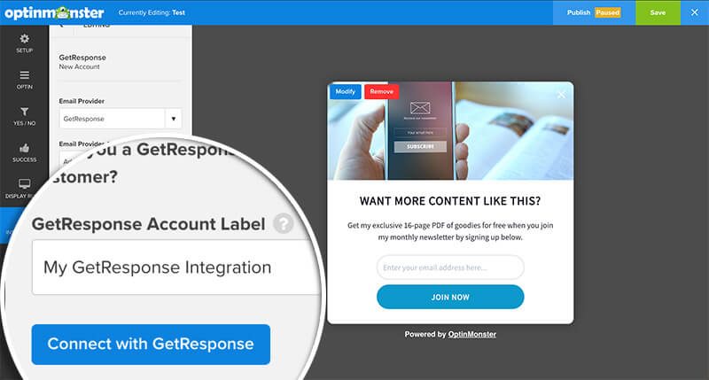 Click Connect with GetResponse