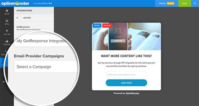Select GetResponse Campaign