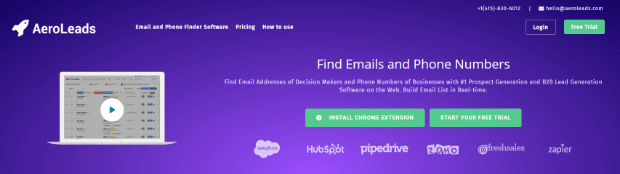 find emails and phone numbers with aeroleads