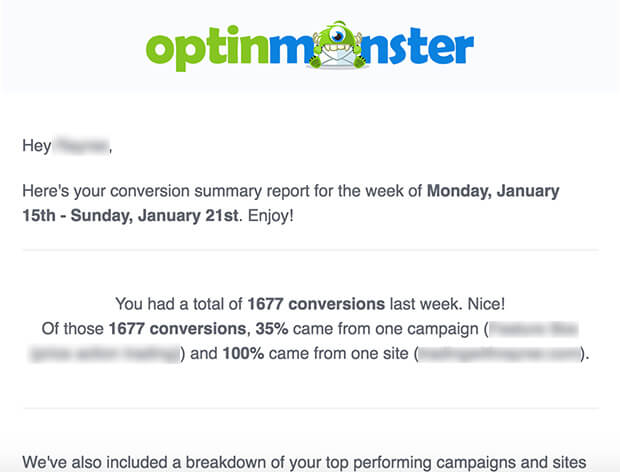 optinmonster weekly conversion summary report