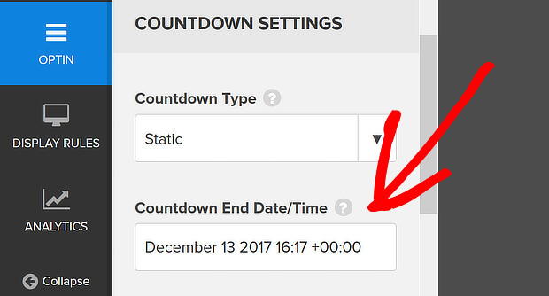 edit countdown end date