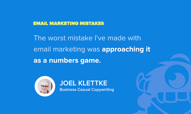 email campaign pitfalls - example from joel klettke