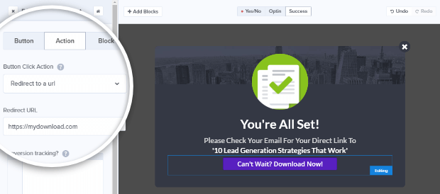 add your download url to the button action
