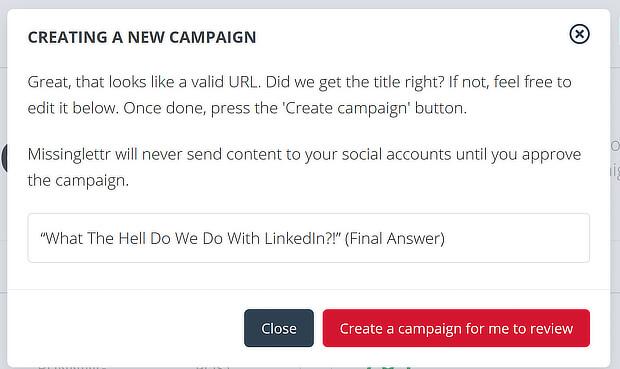 missnglettr create campaign