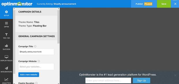 om campaign builder with default tiles floating bar
