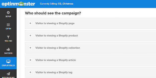 om shopify top bar display rules