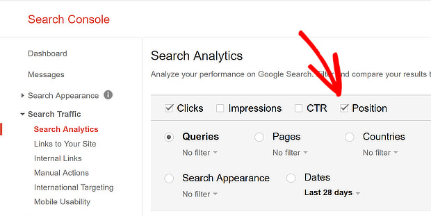 search console select position