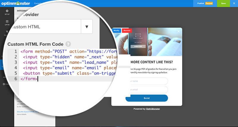Add FormSpree Code