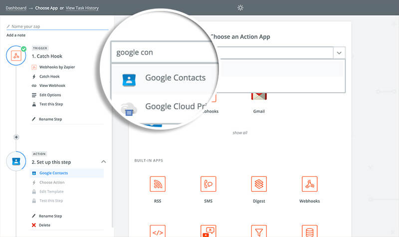 Choose Google Contacts