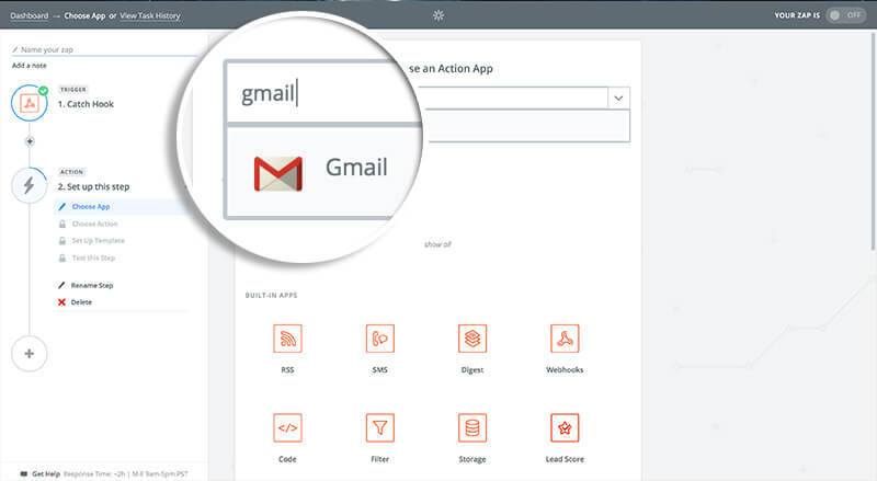 Choose GMail Action