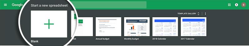 Create new spreadsheet
