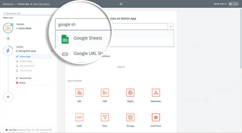 Choose Google Sheets Action