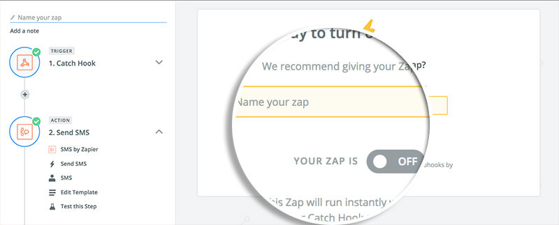 Turn on Zap