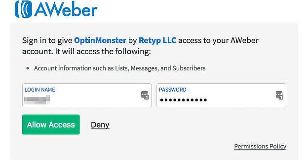 Enter-Aweber-Credentials-and-Allow-Access
