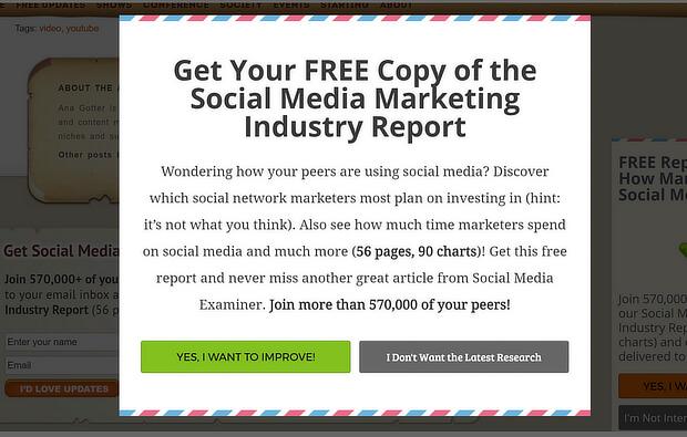 Social media examiner grew their list 66% with an optinmonster custom aweber popup