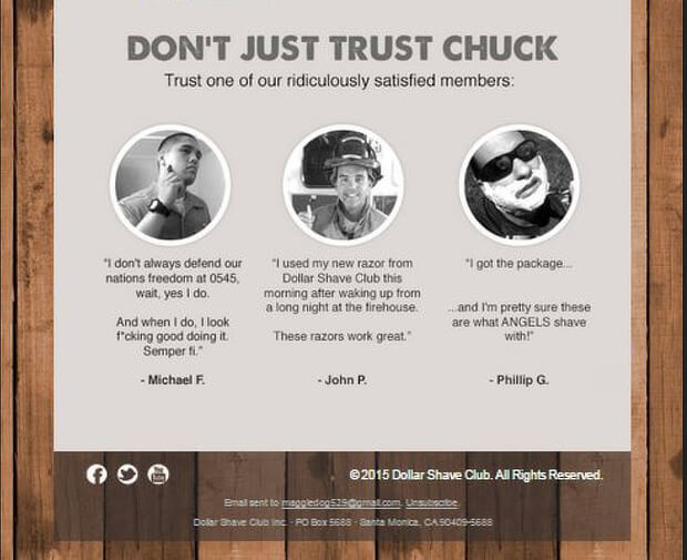 abandoned cart email templates - dollar shave club 2