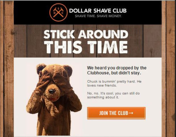 abandoned cart email templates - dollar shave club