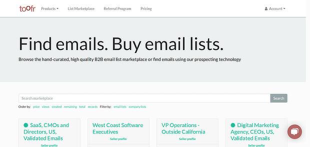 使用toofr查找电子邮件 - 增长黑客工具