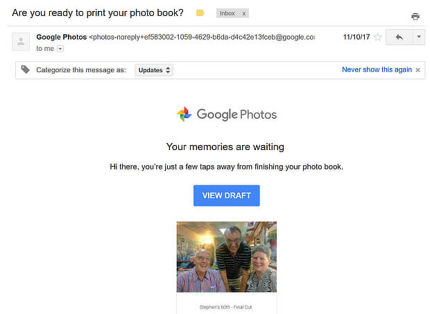 google photo book abandonment email