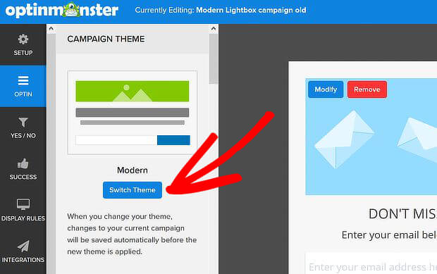 how to change pop up designs templates with optinmonster
