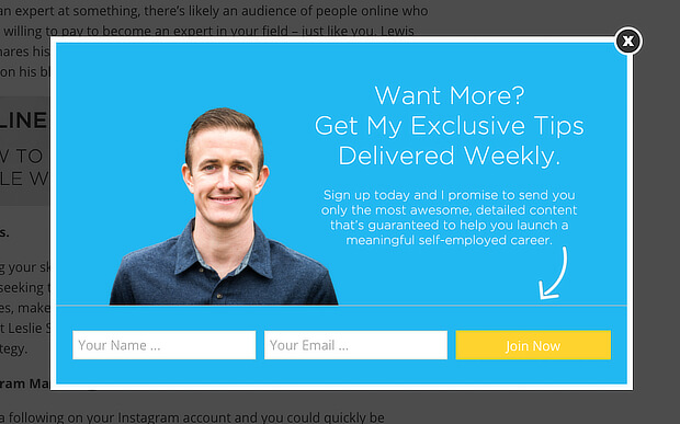 ryan robinson used an AWeber popup to boost conversions by 500%
