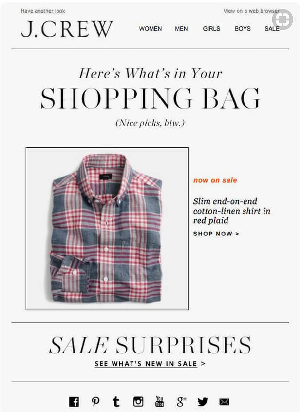 j crew abandoned cart email template