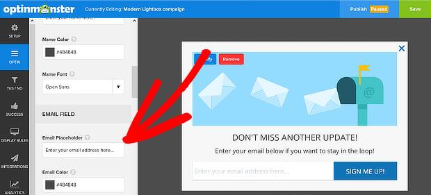 om email placeholder default