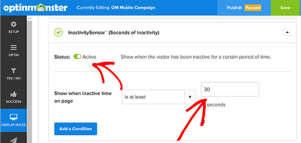 om inactivity sensor on with 30 second timer
