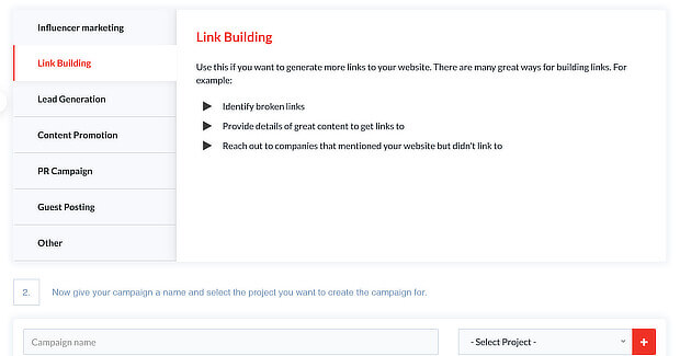 outreachplus link building tools choose campaign type